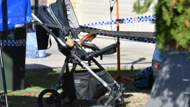 A pram is seen at a property in Cannon Hill, where the body of four-year-old Willow Dunn was found on Monday.