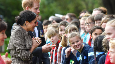 The duke and duchess meet some of those in the crowd at Wellington.