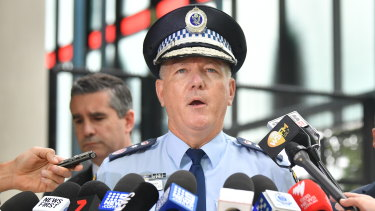 NSW Police Commissioner Mick Fuller addresses the media on Wednesday after Chris Dawson's arrest.