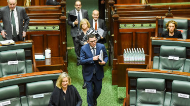 Daniel Andrews arrives for question time with fellow Labor MPs in tow.