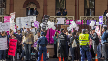 A rally outside NSW Parliament as the abortion bill is debated.