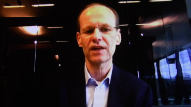 ANZ chief executive Shayne Elliott on a video call after releasing the bank's half-year profit.