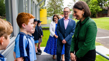 Premier Gladys Berejiklian meets students at Camden Public School on Monday.