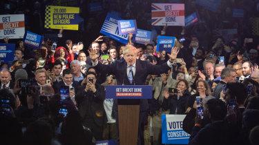 British Prime Minister Boris Johnson in full flight at the east London stadium.