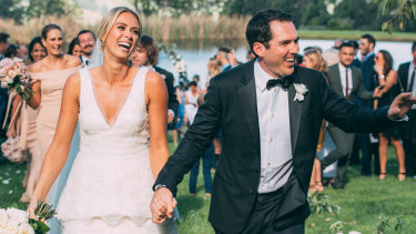 Newsreader Sylvia Jeffreys at her wedding to Peter Stefanovic.