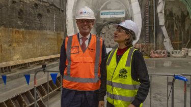 Premier Gladys Berejiklian and Treasurer Dominic Perrottet at the site of a metro station site last year.