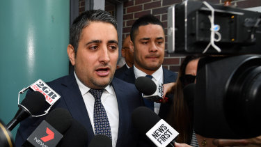 Statement: Leo Premutico, lawyer for Hayne, speaks to the media outside Burwood Local Court.