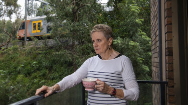 Wollstonecraft resident Jenny Talbot on the balcony of her apartment.