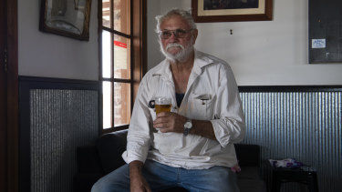 Local Sidney Kinsey having a beer at the Nevertire Hotel: 'This drought has just been hanging around too long.'