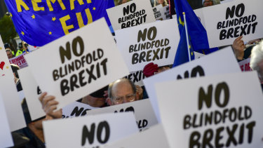 """Demonstrators calling for a second Brexit referendum hold """"No blindfold Brexit"""" signs as they protest near the House of Parliament."""