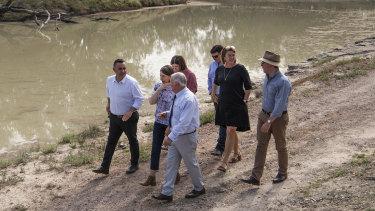 NSW Premier Gladys Berejiklian with John Barilaro at Bourke Weir.