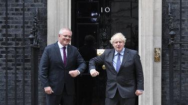 Prime Minister Scott Morrison with British Prime Minister Boris Johnson outside Downing Street.