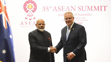 Prime Minister Scott Morrison with his Indian counterpart, Narendra Modi, in Bangkok.