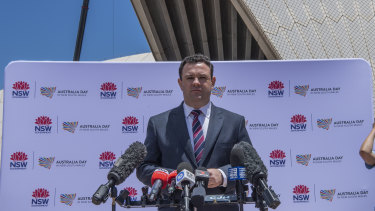 Tourism minister Stuart Ayres announces Sydney's Australia Day program at the Opera House.