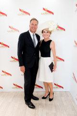 Julie Bishop and her partner, David Panton, at Mumm in 2016.