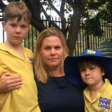 Licia Heath, with sons Jude and Leo Jungwirth, has been lobbying for a new eastern suburbs co-ed high school.