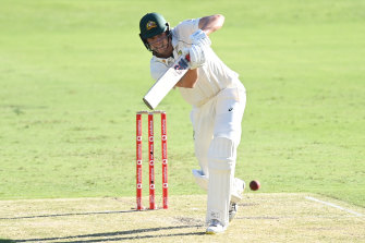 Cameron Green is all concentration with the bat at the Gabba on day one of the fourth Test.