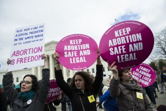 Pro-choice supporters try to block anti-abortion demonstrators in front of the Supreme Court during the annual March for Life on the anniversary of the Roe v Wade ruling in Washington in January 2017.