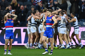 Gary Rohan and the Cats celebrate after their dramatic win as the Dogs feel the pain.