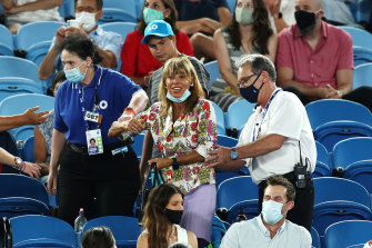 A spectator was escorted from Rod Laver Arena after making a scene during Rafael Nada's match against American Michael Mmoh.