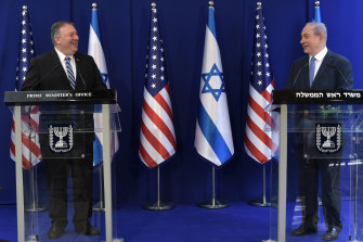 US Secretary of State Mike Pompeo and Israeli Prime Minister Benjamin Netanyahu in Jerusalem on May 13.
