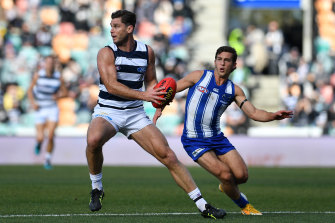 Tom Hawkins on the move for the Cats in their clash with North Melbourne at Blundstone Arena.