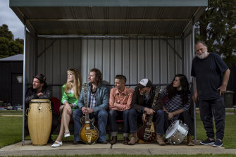 The specially formed Cheddar Road All-Stars and playwright Barry Dickins (far right) will debut the album on Sunday.