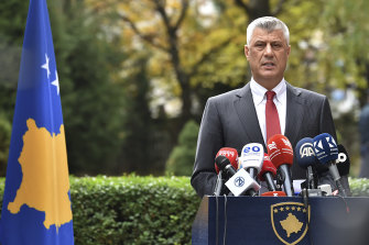 Hashim Thaci announces his resignation as president of Kosovo to face war crimes charges.