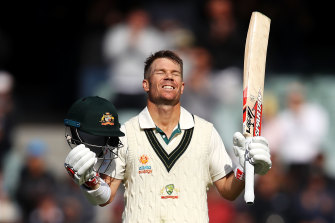 James Erskine has suggested David Warner, pictured celebrating a  triple century in Adelaide, may perform better without official leadership titles.