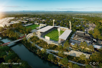 Artists' impressions of a 20,500 seat stadium at North Ipswich Reserve, proposed to support the Brisbane Jets NRL team bidding to join the NRL in 2023.
