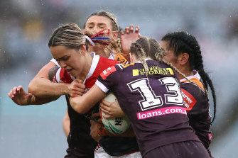 Botille Vette-Welsh of the Roosters is tackled during the NRLW Grand Final in 2020.