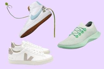 Clockwise from top left: Nike Blazer Mid '77; AllBirds Tree Dasher; Veja Campo.