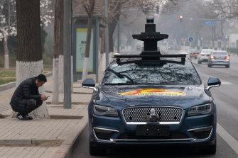 An autonomous vehicle in Beijing last week.