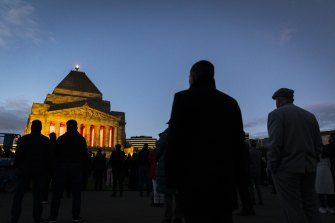 Citizens are seen amongst Veterans paying their respects at the ANZAC Day Dawn Service, Shrine of Remembrance.