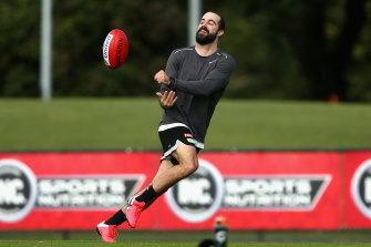 Collingwood's Steele Sidebottom trains in a Melbourne park. Pies coach Nathan Buckley wants as much lead-in time as possible ahead of an AFL return.