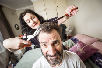 Gabrielle O'Brien and Scott McInnes have been cutting each other's hair in lockdown.