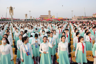 Participants rehearse in Tiananmen Square before celebrations marking the 100th anniversary of the Chinese Communist Party on July 1, 2021.