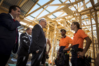 Prime Minister Scott Morrison and Housing Minister Michael Sukkar MP meet builders in Officer in February.