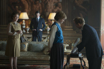 Olivia Colman, from left, Josh O'Connor and Emma Corrin in a scene from The Crown.