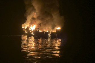 The dive boat was engulfed in flames off Santa Cruz harbour.