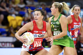 Maddy Proud in action for the  Swifts during the Super Netball minor semi-final against the West Coast Fever in October.