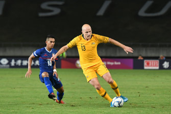 Aaron Mooy in action for Australia.
