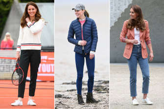 Stylist Sally Mackinnon says the Duchess of Cambridge nails it in her cropped slim jeans (left and right) but the dark skinnies are starting to date.