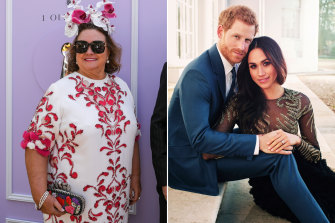 Gina Rinehart (left) reportedly tried to buy troubled fashion brand Ralph & Russo, which made Meghan, Duchess of Sussex's engagement dress.