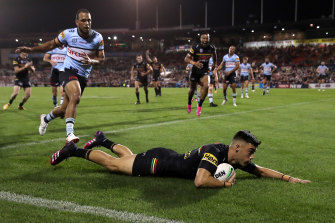 Charlie Staines goes over for one of his three tries.