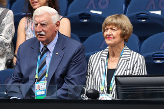 Margaret Court and her husband watch Naomi Osaka's first-round win.