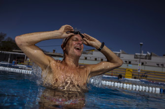 Gavin Moore savoured his first swim in months at Fitzroy Pool on Monday.