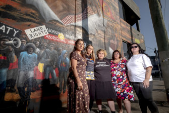 Former Greens MP Lidia Thorpe with Members of the Warriors of Aboriginal Resistance (L-R) Apryl Day, Tarneen Onus-Williams, Crystal McKinnon and Rosie Kalina.