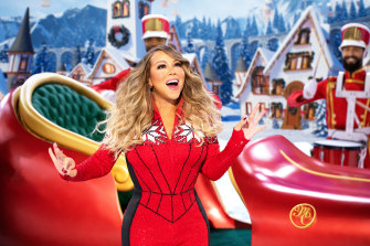 Mariah Carey performing during her holiday special Mariah Carey's Magical Christmas Special on Apple TV+.