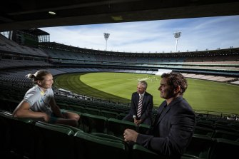 Australian Cricket Captain Meg Lanning in conversation with MCC President MIchael Happell and Artist Vincent Fantauzzo who will be painting a portrait of the World T20 World Cup winning team to be displayed in the MCC.